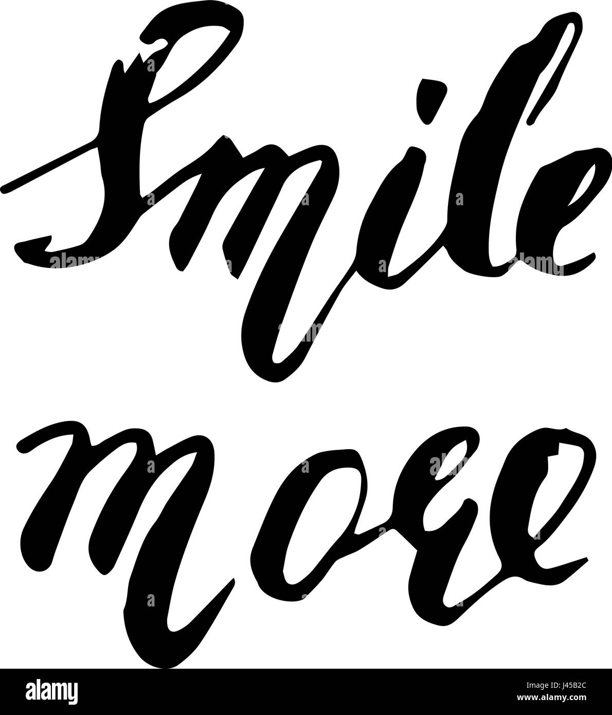 Smile more. Inspirational quote handwritten with black ink and brush, custom lettering for posters, t-shirts and - Stock Image
