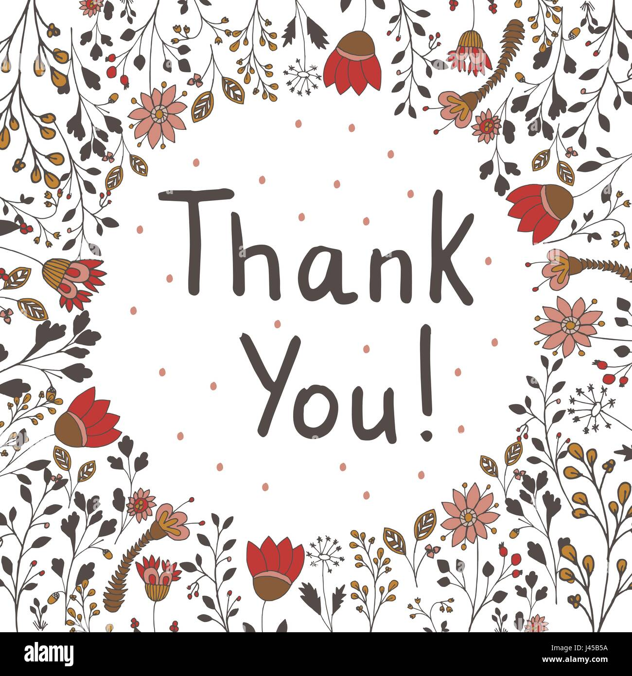 Thank You. Hand drawn lettering inside of doodle flowers. Can be used for card. Vector illustration. - Stock Vector