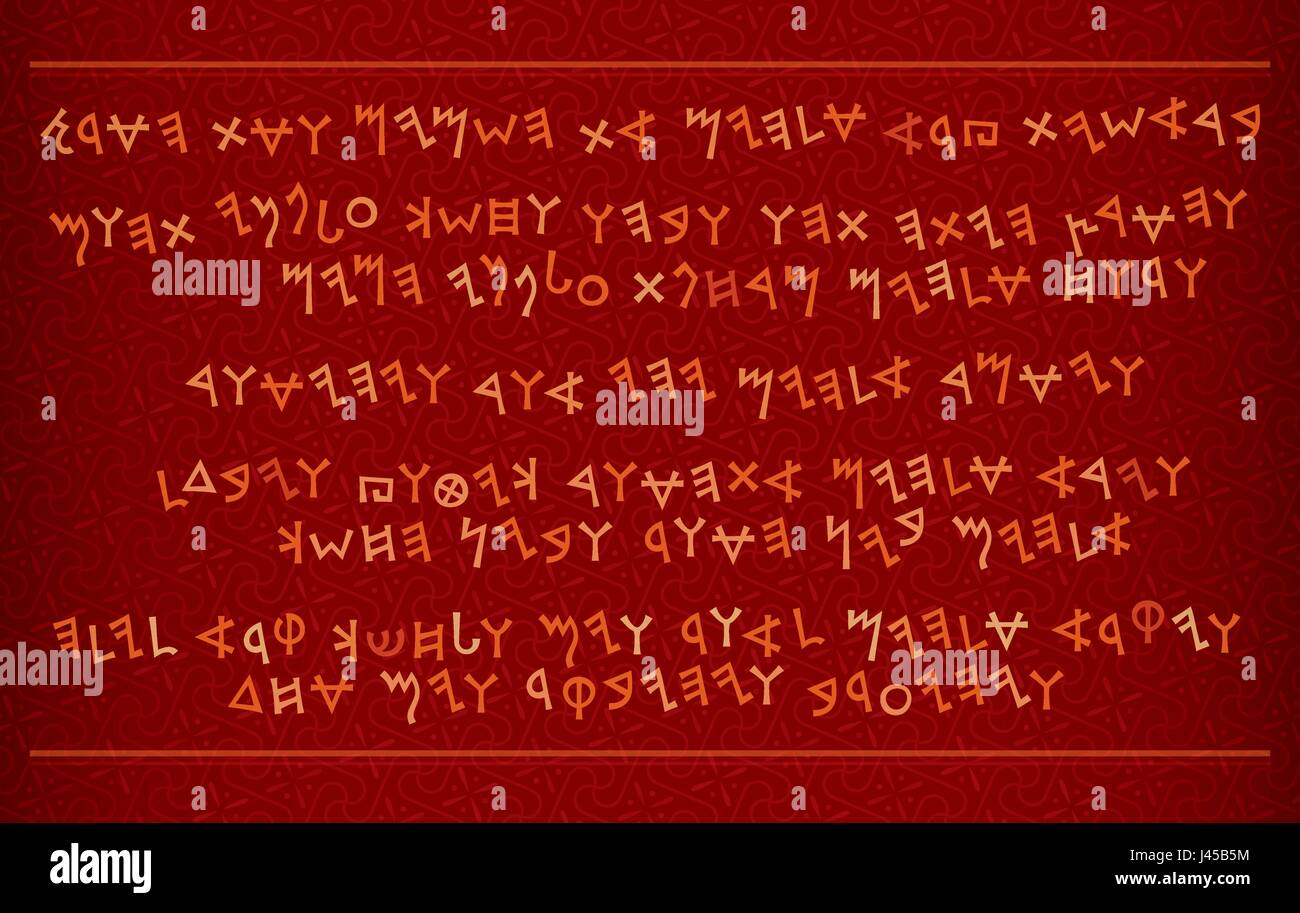 A fragment of Phœnician manuscript. The most first Alphabet in The World. The Middle East, c.1500–1200 B.C. (Antique - Stock Vector