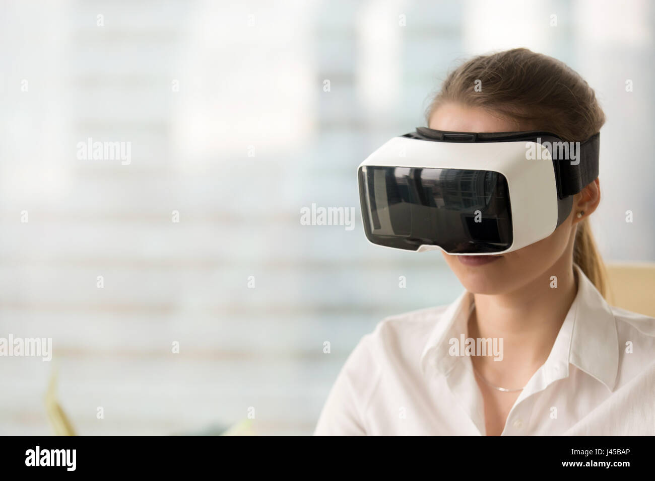 Cyberspace experience with VR headset concept - Stock Image