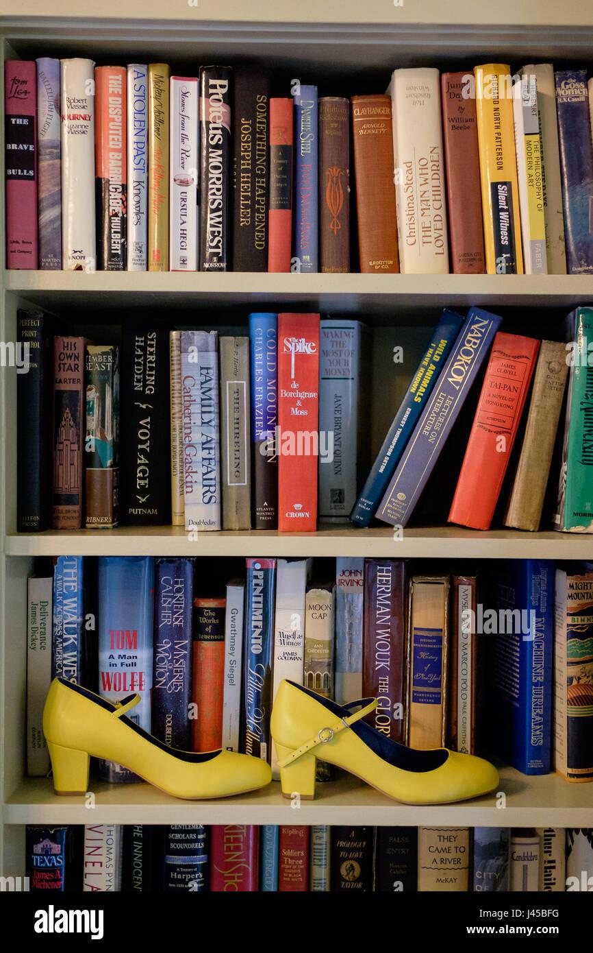 Yellow Wedding Shoes On Bookshelf