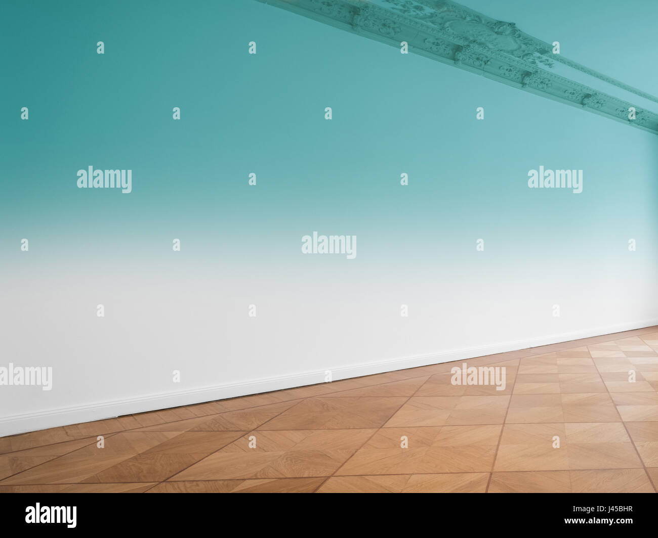 wall background in empty room with wooden floor Stock Photo