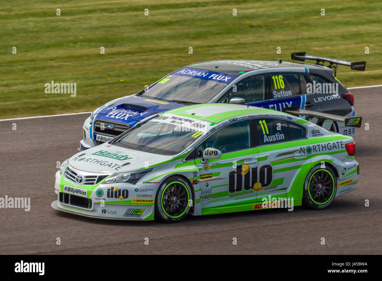 BTCC Drivers Austin and Sutton competing at Thruxton Circuit, Hampshire, on Sunday 7th May 2017. - Stock Image