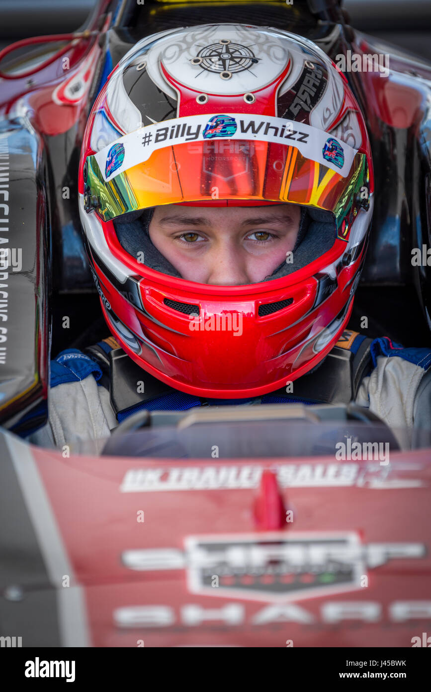Formula Four Racing Driver Jamie Sharp competing at Thruxton Circuit, Hampshire, on Sunday 7th May 2017. - Stock Image