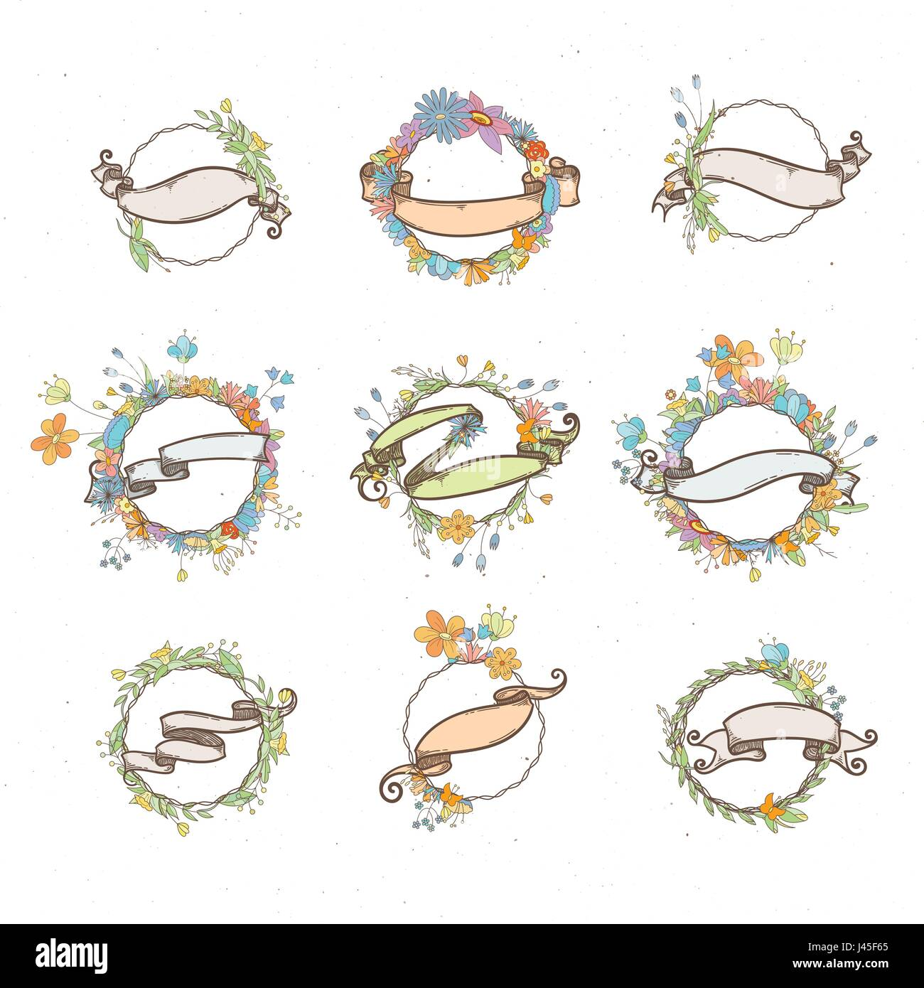 Rustic Hand Drawn Flower Elements And Ribbons Set Vector Floral Doodles Branches Flowers Laurels Frames Border Collection For Greeting Cards