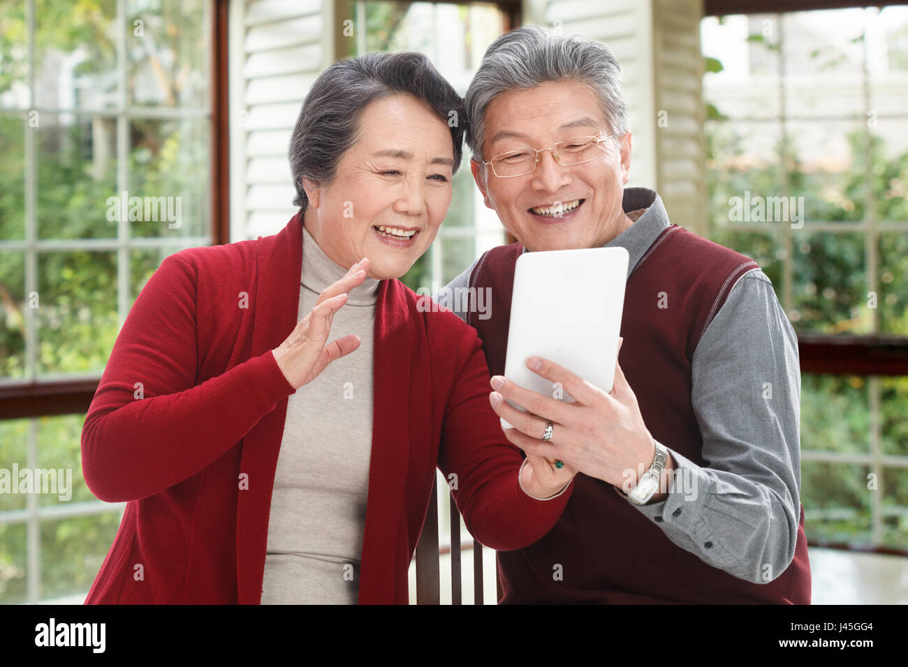 The old couple have a new year. - Stock Image