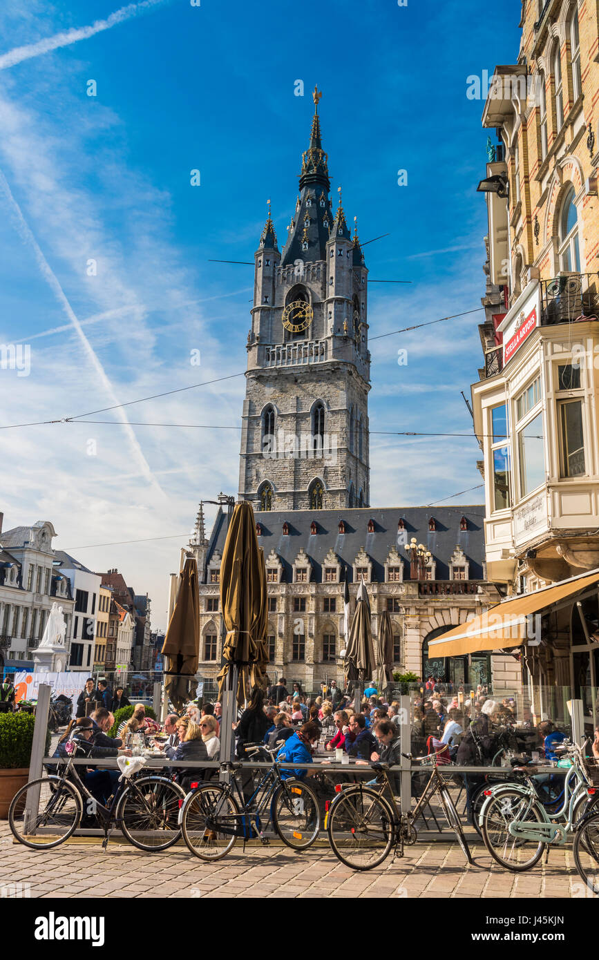Sint-Baafsplein (Town Square) and St Bavo's Cathedral, Ghent, East Flanders, Belgium - Stock Image