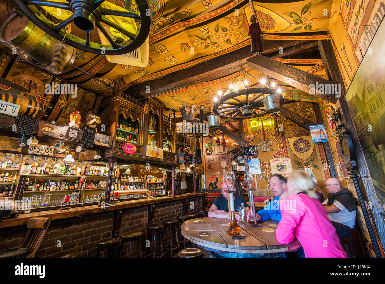 Interior view of Herberg de Dulle Griet, one of best-known beer pubs in Ghent, East Flanders, Belgium - Stock Image