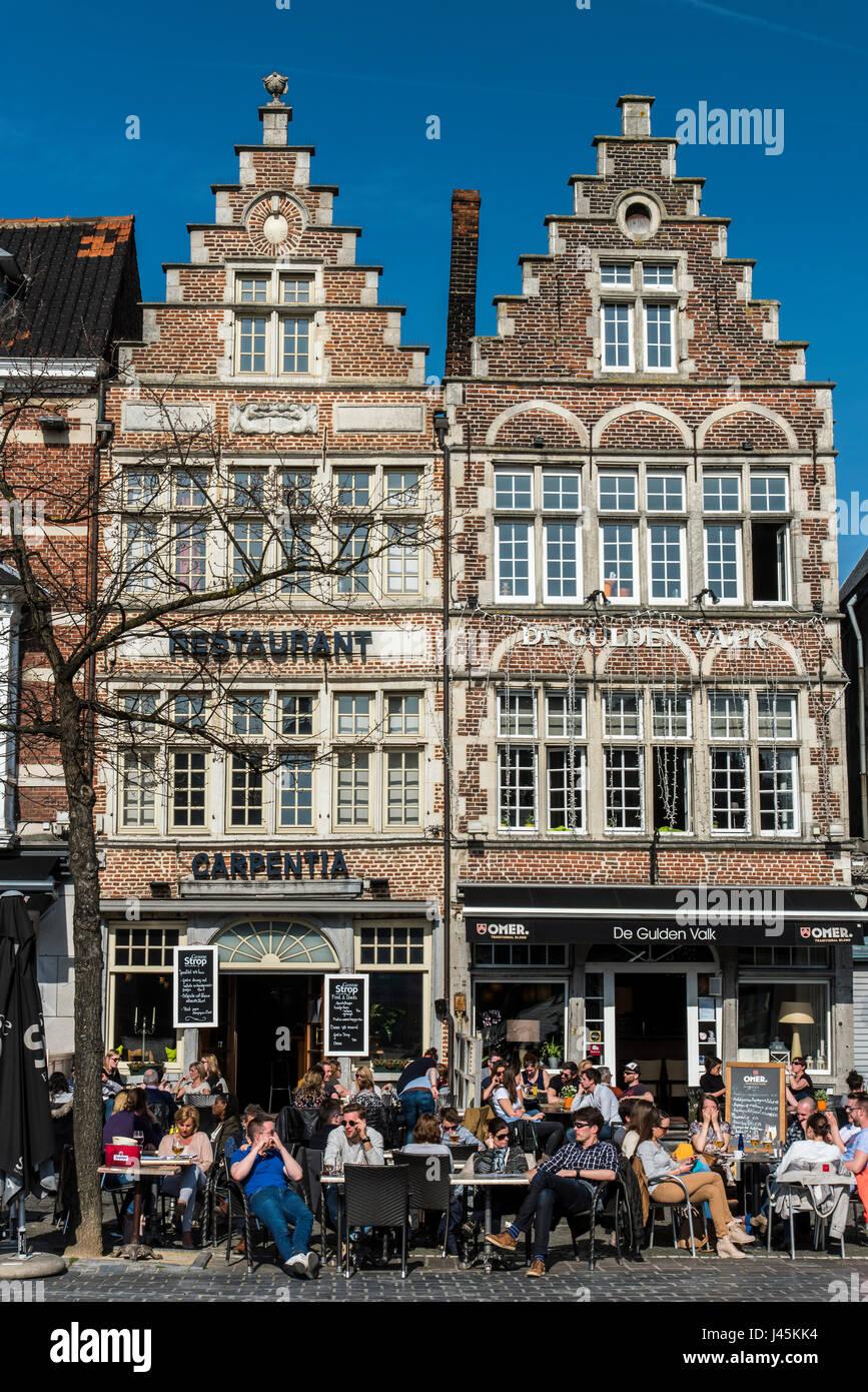 Cafe in Vrijdagmarkt square, Ghent, East Flanders, Belgium - Stock Image
