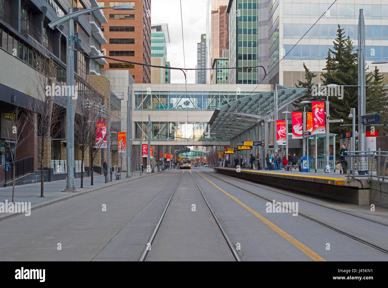 C train station on 7th avenue with +15 and +30 walkways, part of an extensive elevated pedestrian skywalk system - Stock Image