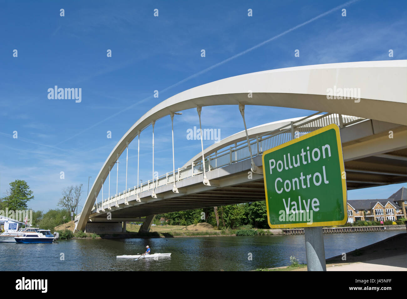 pollution control valve sign adjacent to walton bridge, crossing the river thames between shepperton and walton - Stock Image