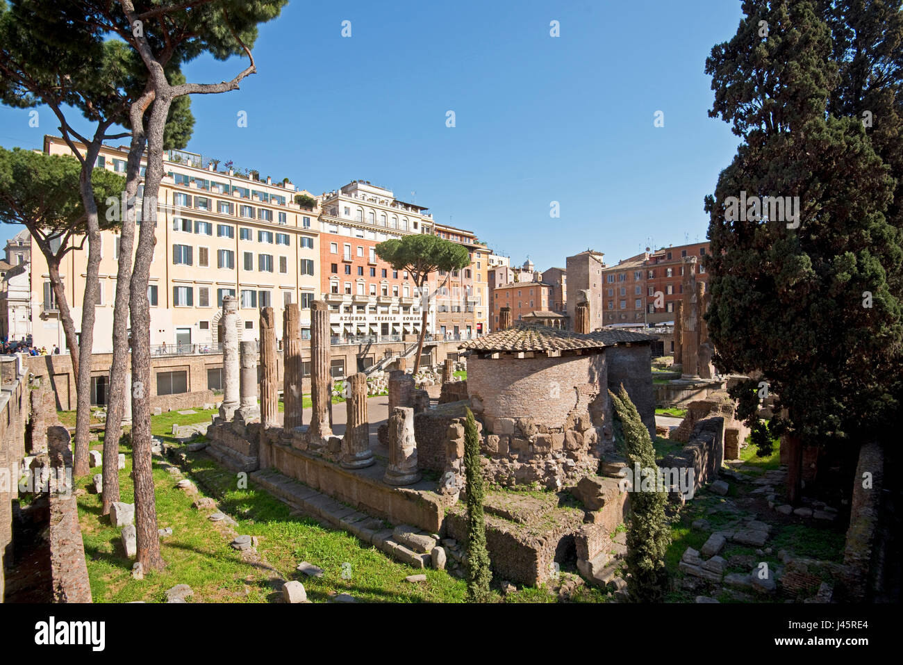 Largo di Torre Argentina in Rome on a sunny day with blue sky. - Stock Image