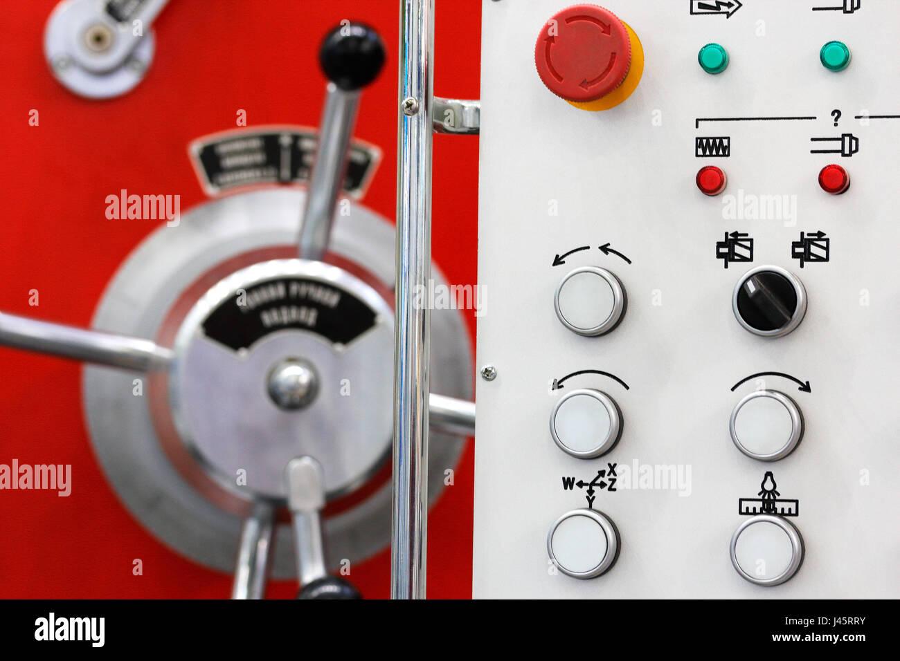 Close up of lathe control panel. Selective focus. - Stock Image