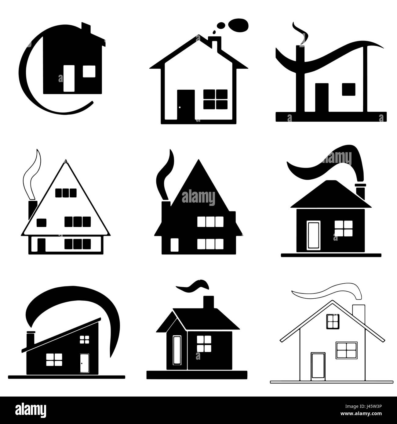 nine houses set vector - with smoke from chimney - - Stock Image