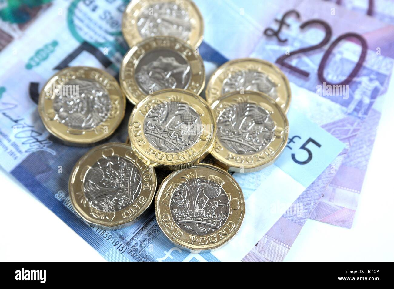 Pound Coins 2017 & Scottish £5 and £20 Notes - Stock Image
