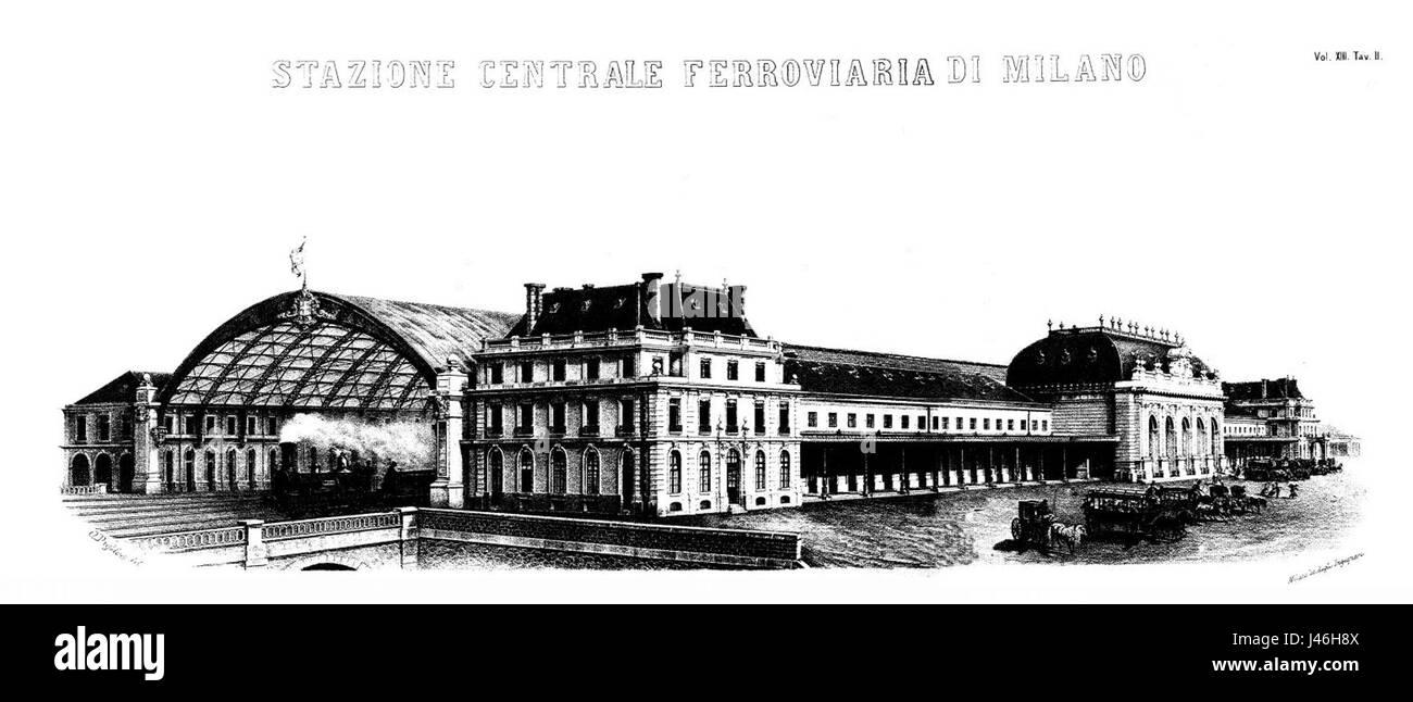 Milano Stazione Centrale 1865 - Stock Image