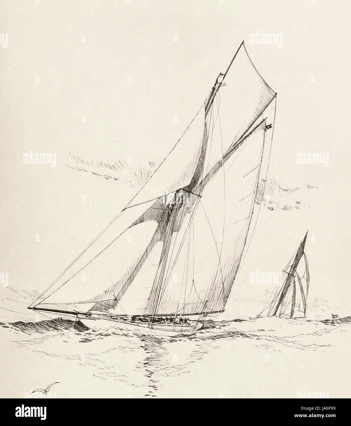 Defender, which sailed in defense of America's Cup in 1895 against Valkyrie III, ninth challenger - Stock Image