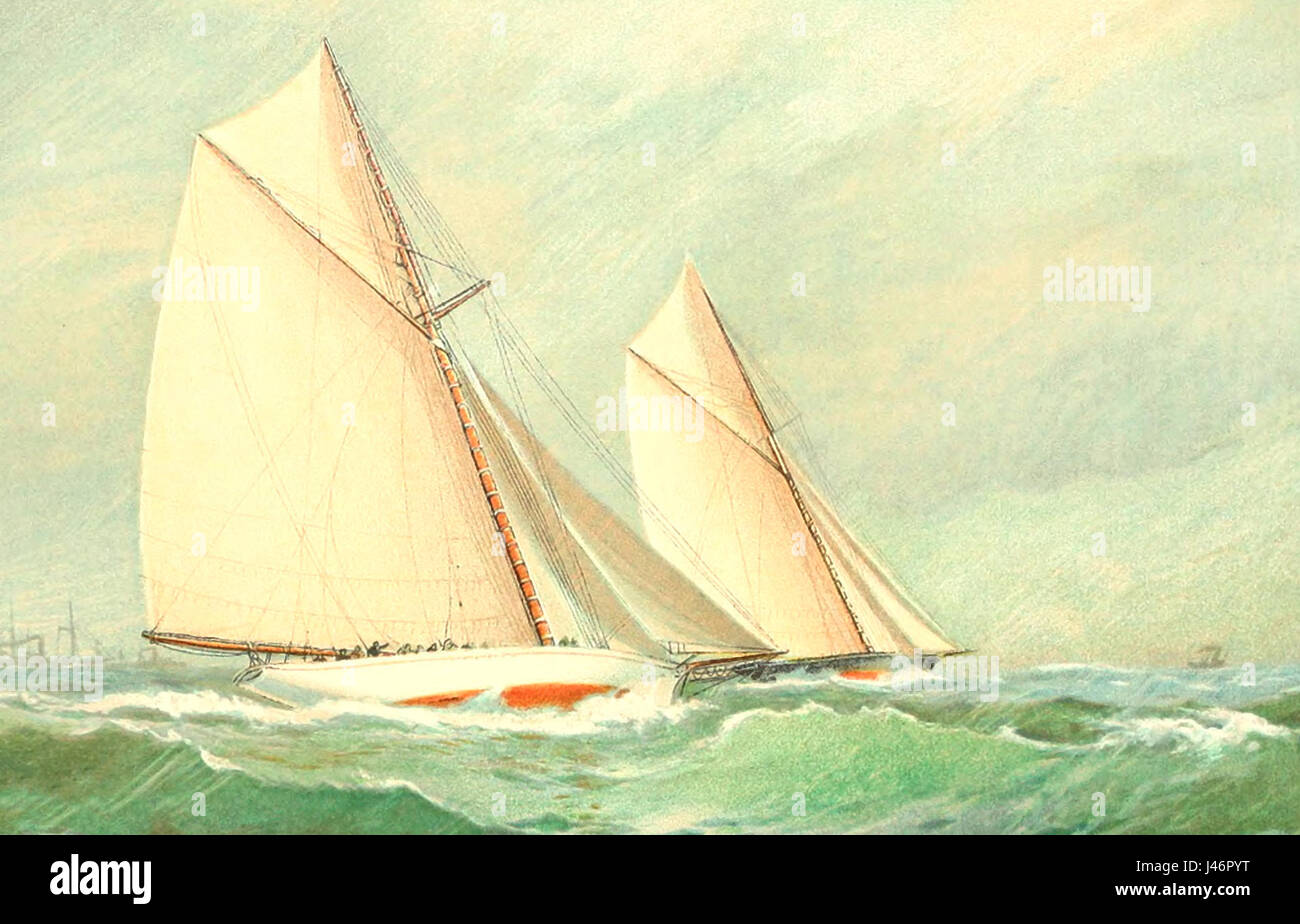 Final Race between Volunteer and THistle, September 30, 1887. This scene represents the vessels shortly after the - Stock Image