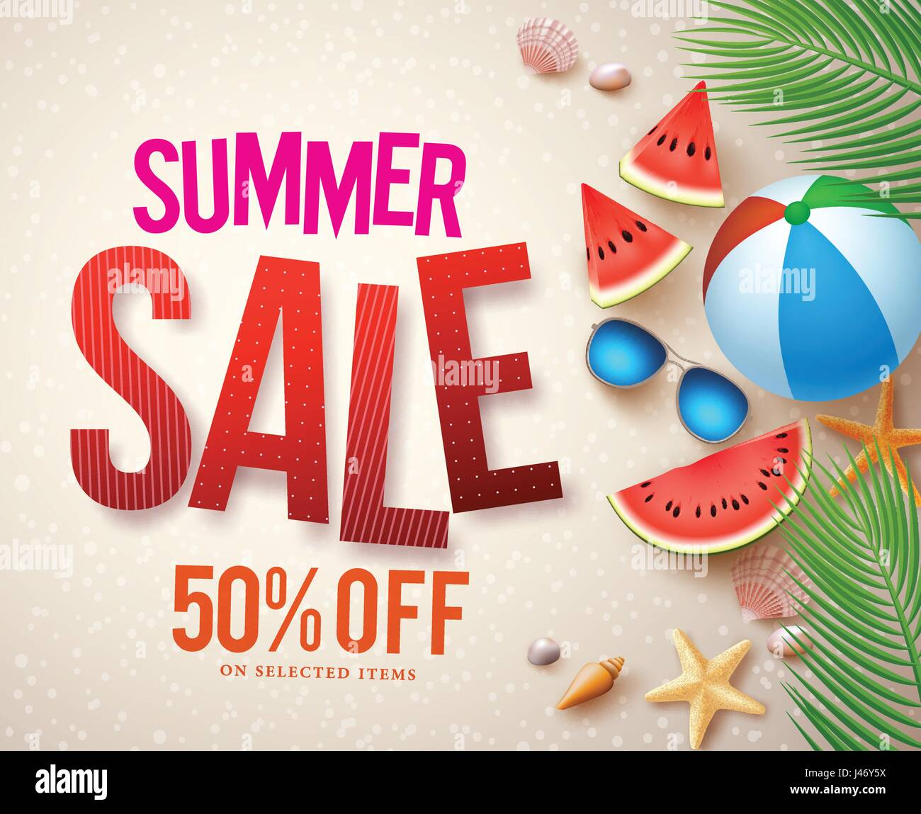 vector summer sale banner design with red sale text and colorful