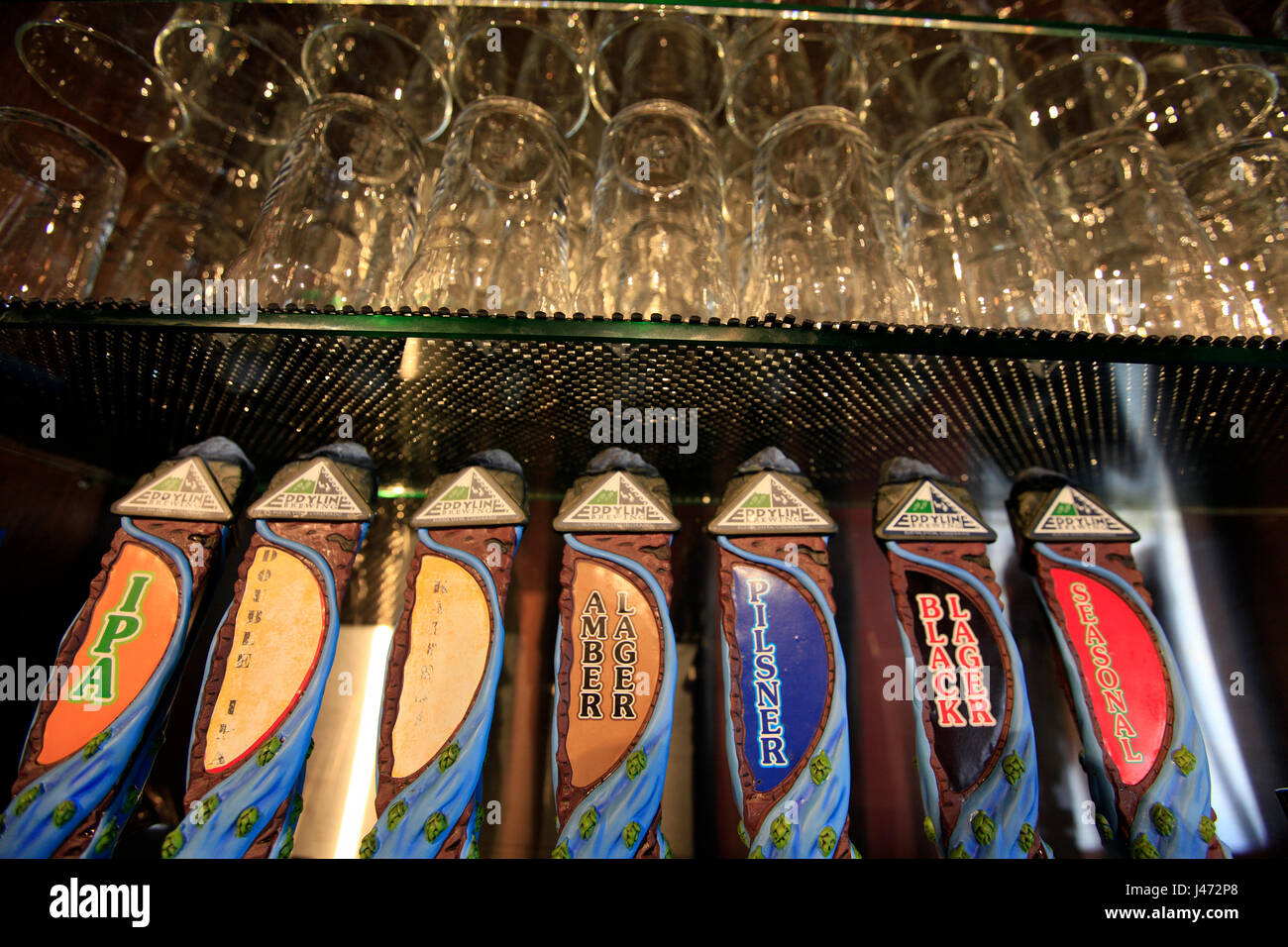 Beer pumps at Eddyline Brewery, Richmond, Nelson, New Zealand - Stock Image