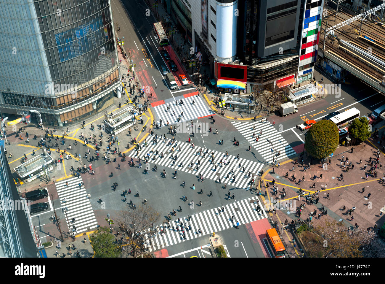 Tokyo, Japan view of Shibuya Crossing, one of the busiest crosswalks in Tokyo, Japan. Stock Photo