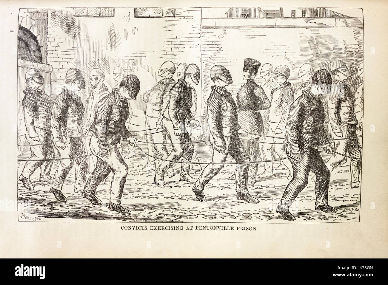 Convicts exercising at Pentonville Prison by the artist Bennetto, published in 'The Criminal Prisons of London - Stock Image