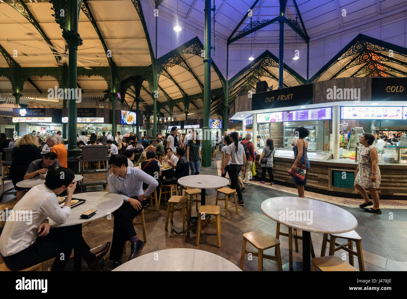 Singapore - Singapore - April 17, 2017: Inside the Telok Ayer Market in Singapore - Stock Image