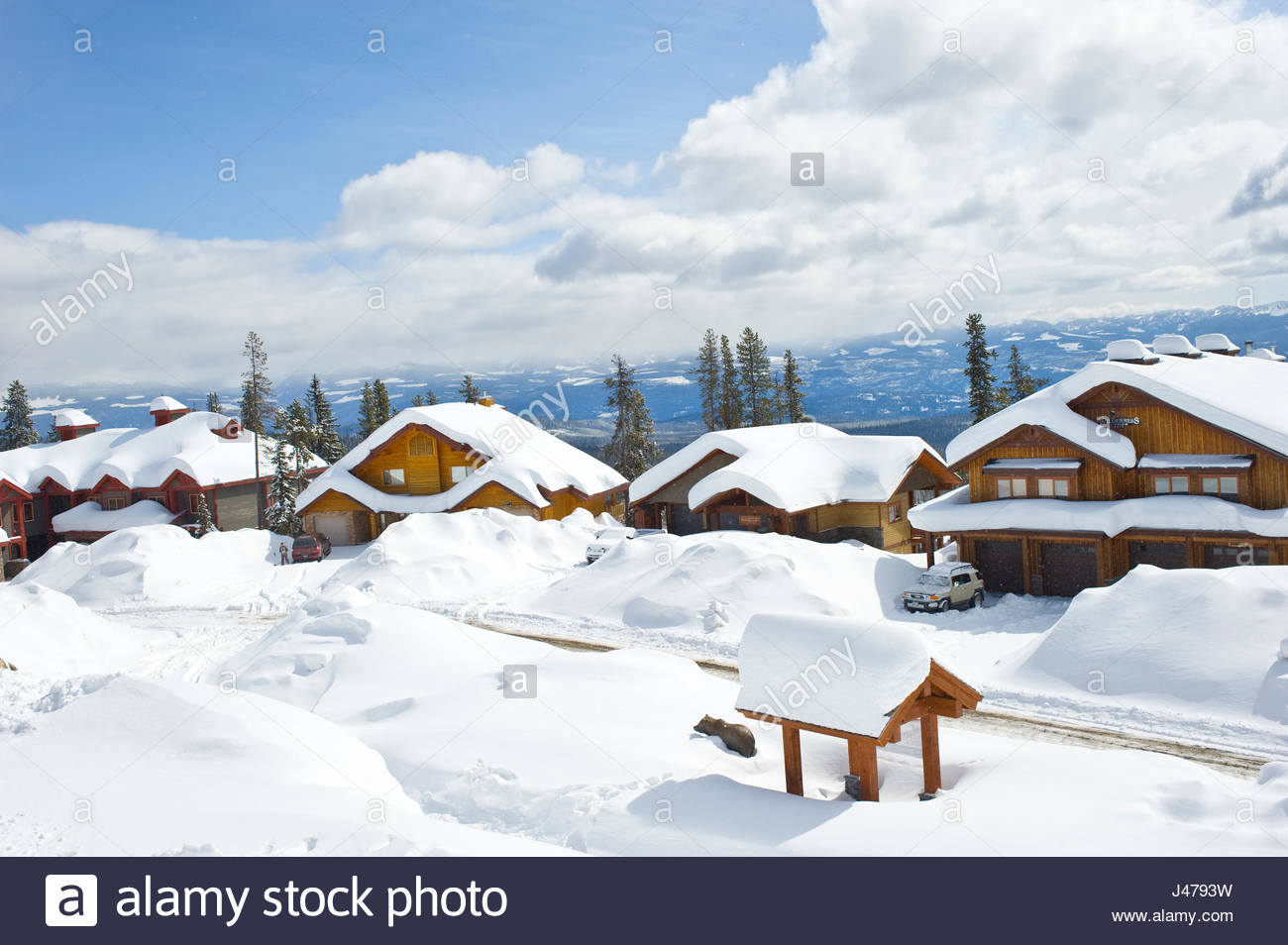 Vacation homes along serwas ski run big white british columbia canada