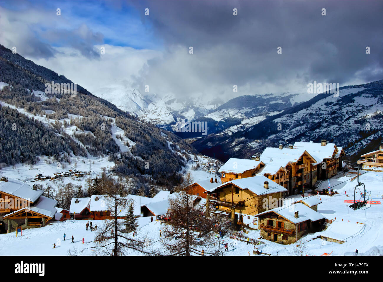 Tarentaise Valley and Sainte Foy ski resort in the northern French Alps, France - Stock Image