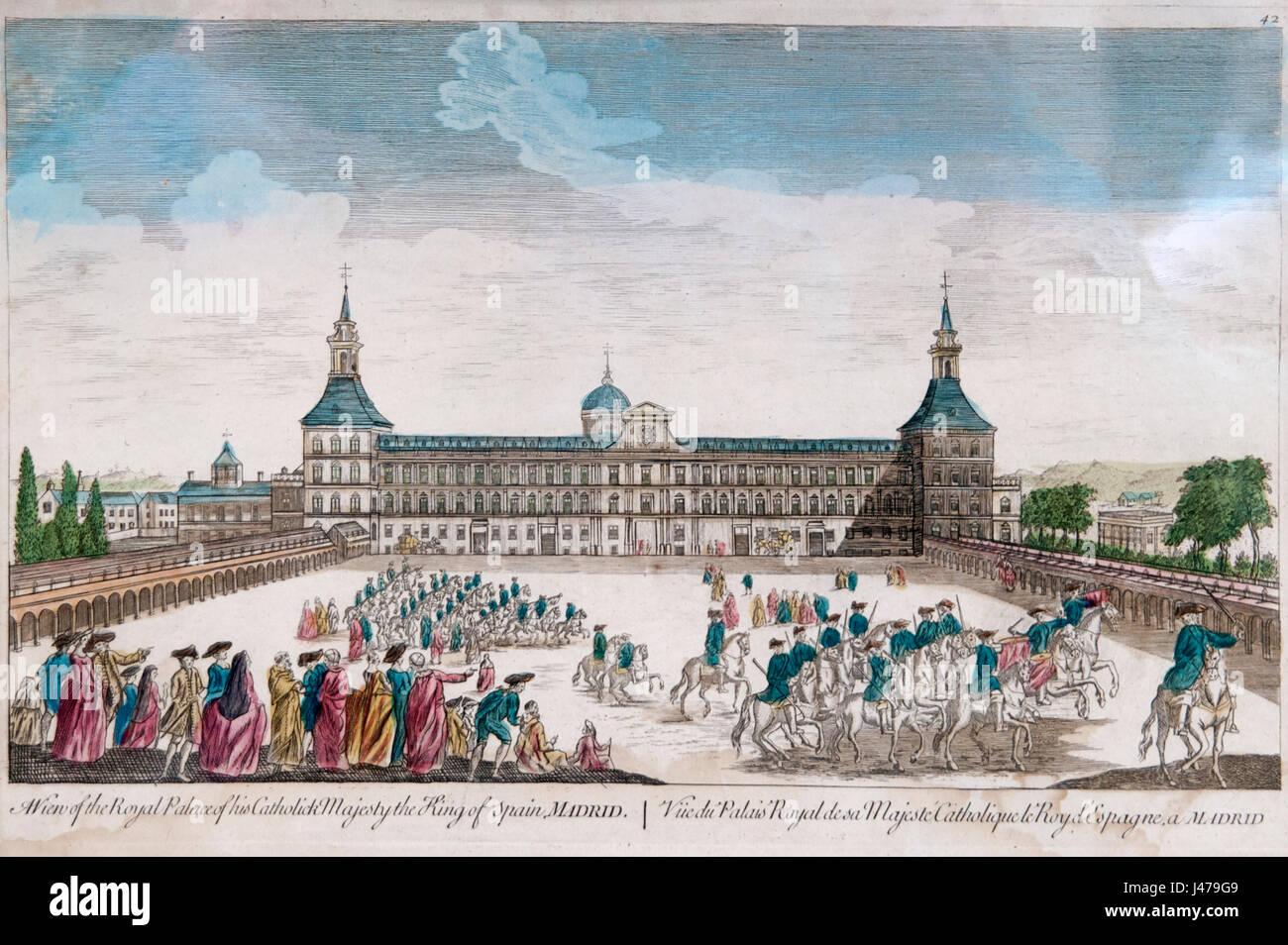 royal palace madrid spain a hand painting of the courtyard stock