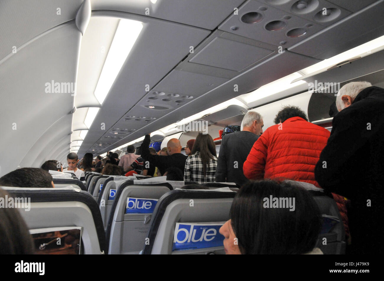 interior of the cabin of an Aegean Airlines Airbus A320-200 at Ben Gorion international airport, Israel - Stock Image