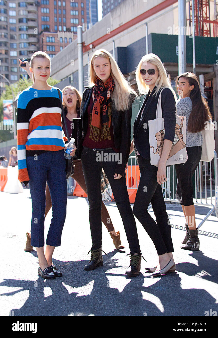A group of dutch fashion models after a show in New York