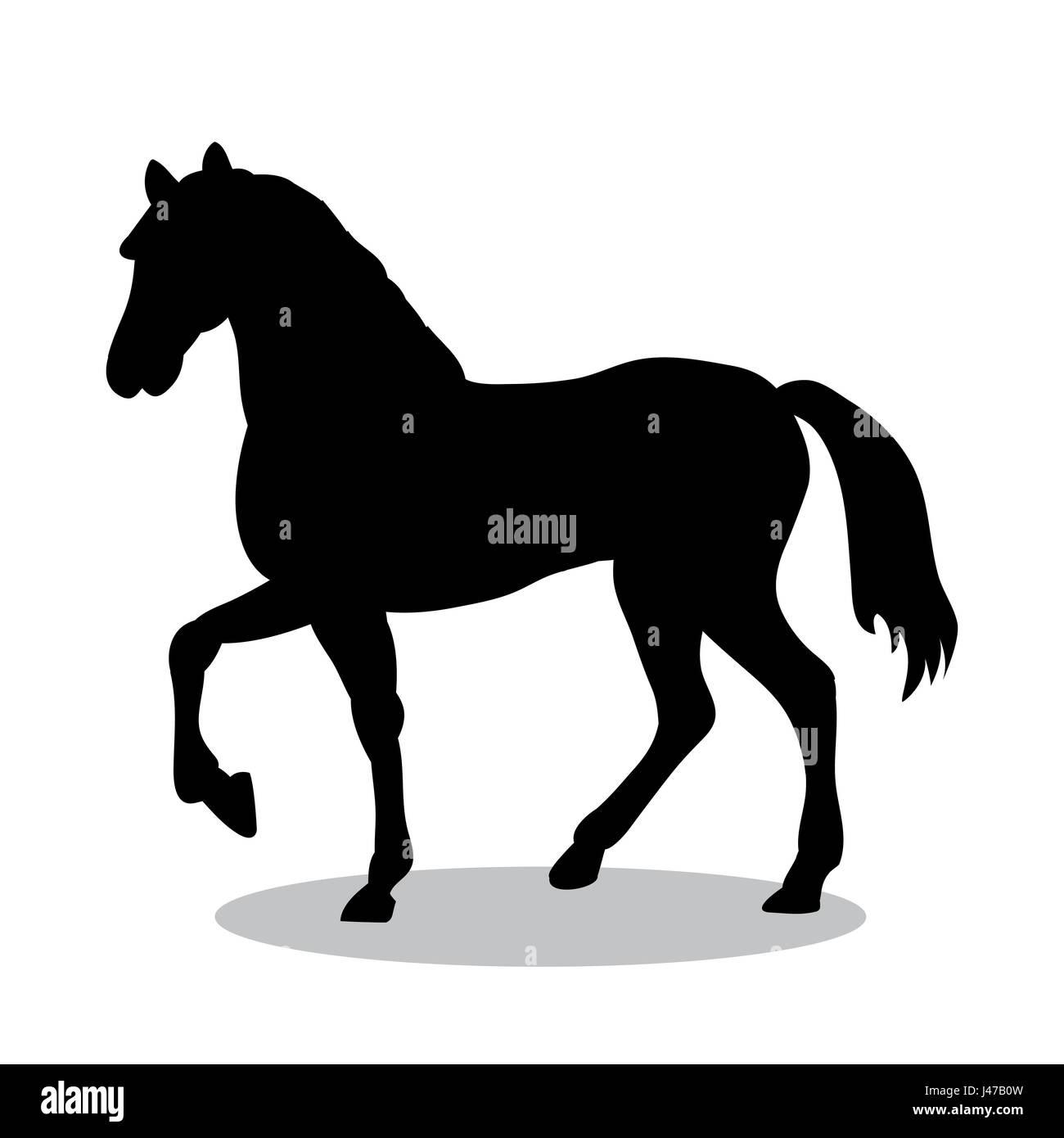 Horse farm mammal black silhouette animal - Stock Image