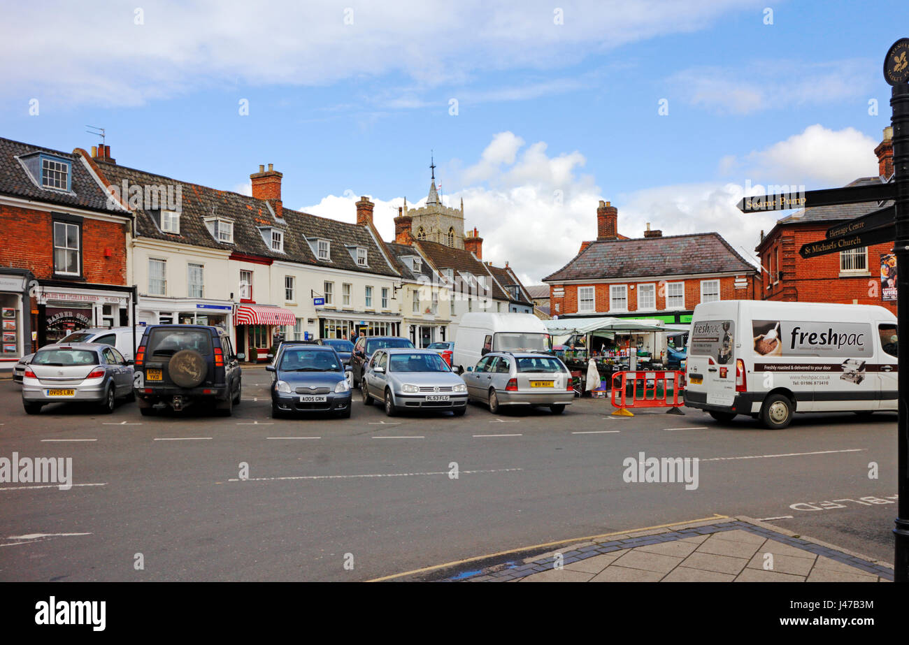 A view of the Market Place in the town of Aylsham, Norfolk, England, United Kingdom. - Stock Image