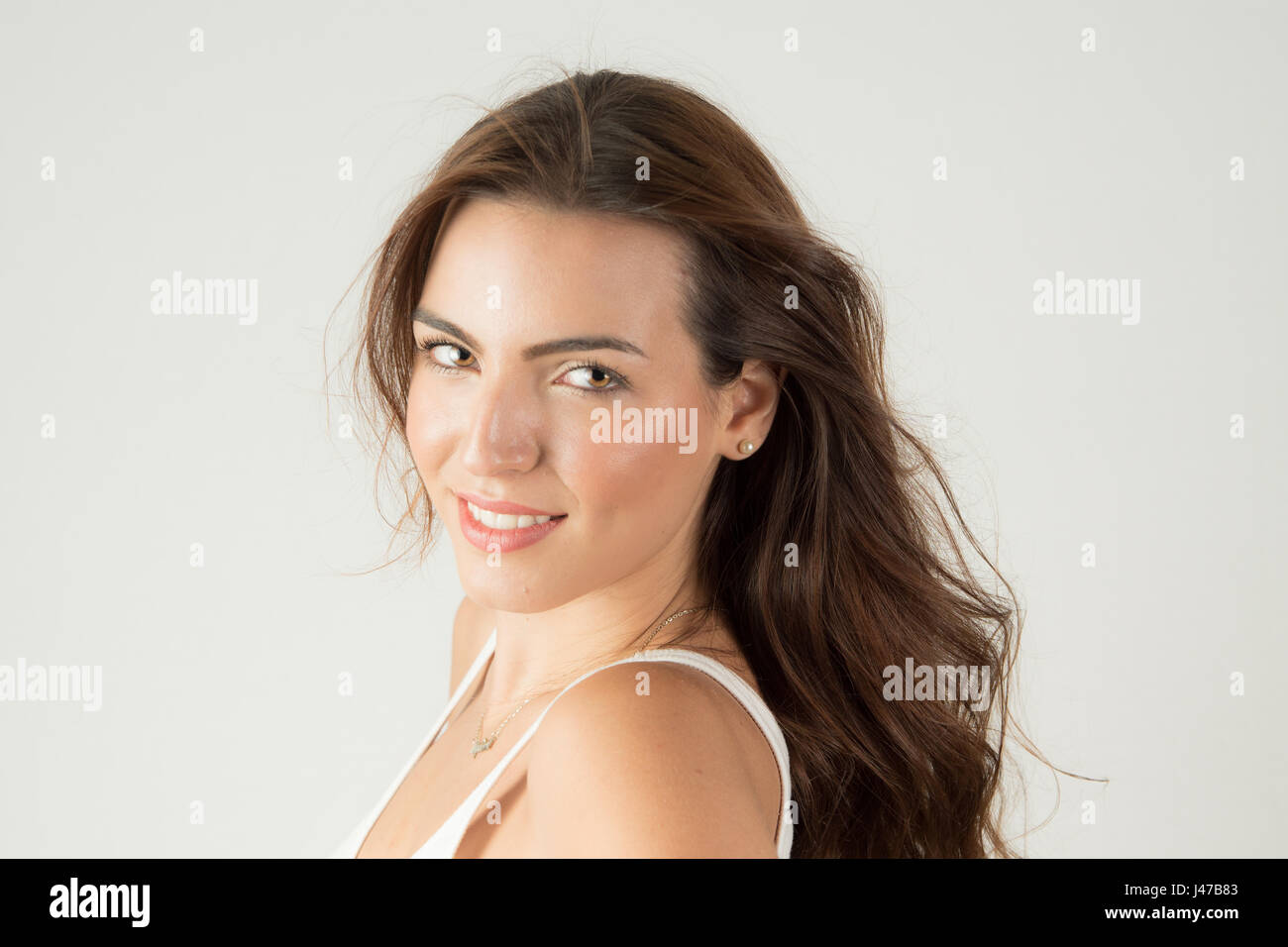 Hi key headshots, female, - Stock Image