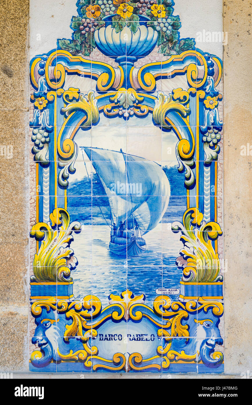 Portugal tiles, one of a series of 10 scenes in blue azulejos tiles depicting the Douro Valley port wine harvest Stock Photo