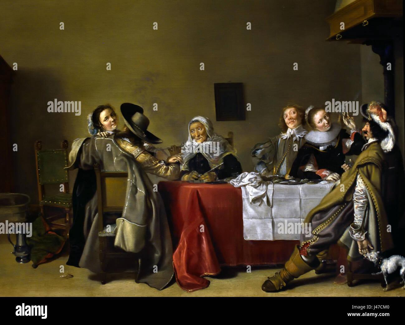 A Merry Company at Table 1630 Hendrick Pot 1585 - 1657  Dutch The Netherlands. ( The brothel scene or 'bordeeltje' Stock Photo