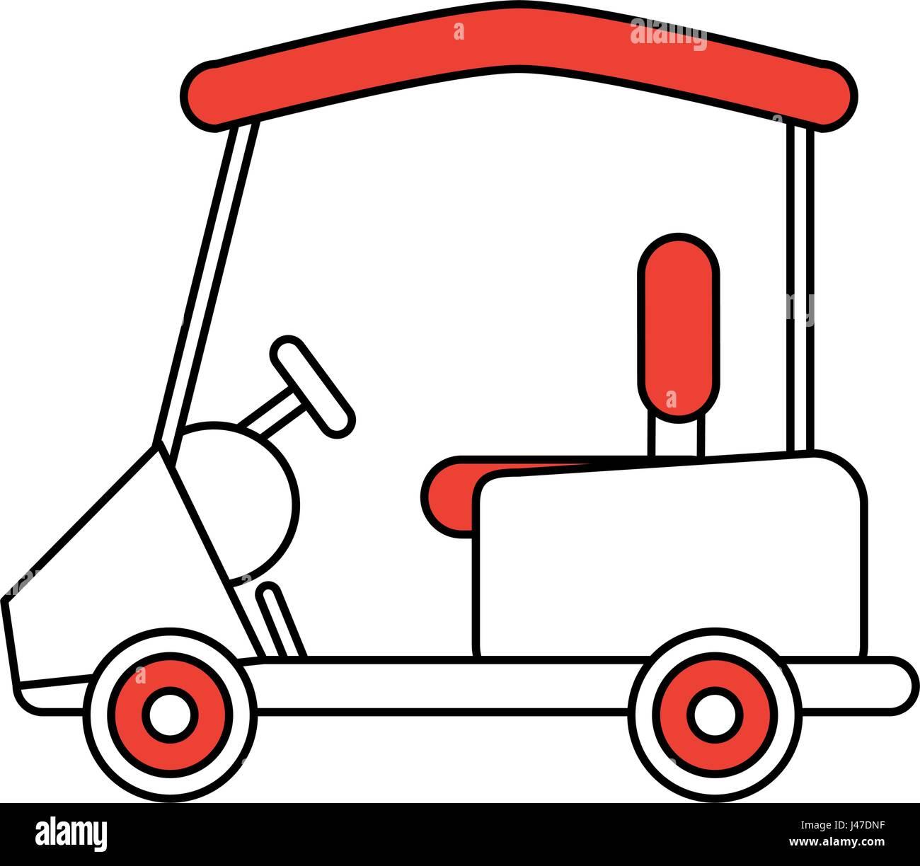 Color Silhouette Cartoon Golf Cart Vehicle Stock Vector Image Art Alamy