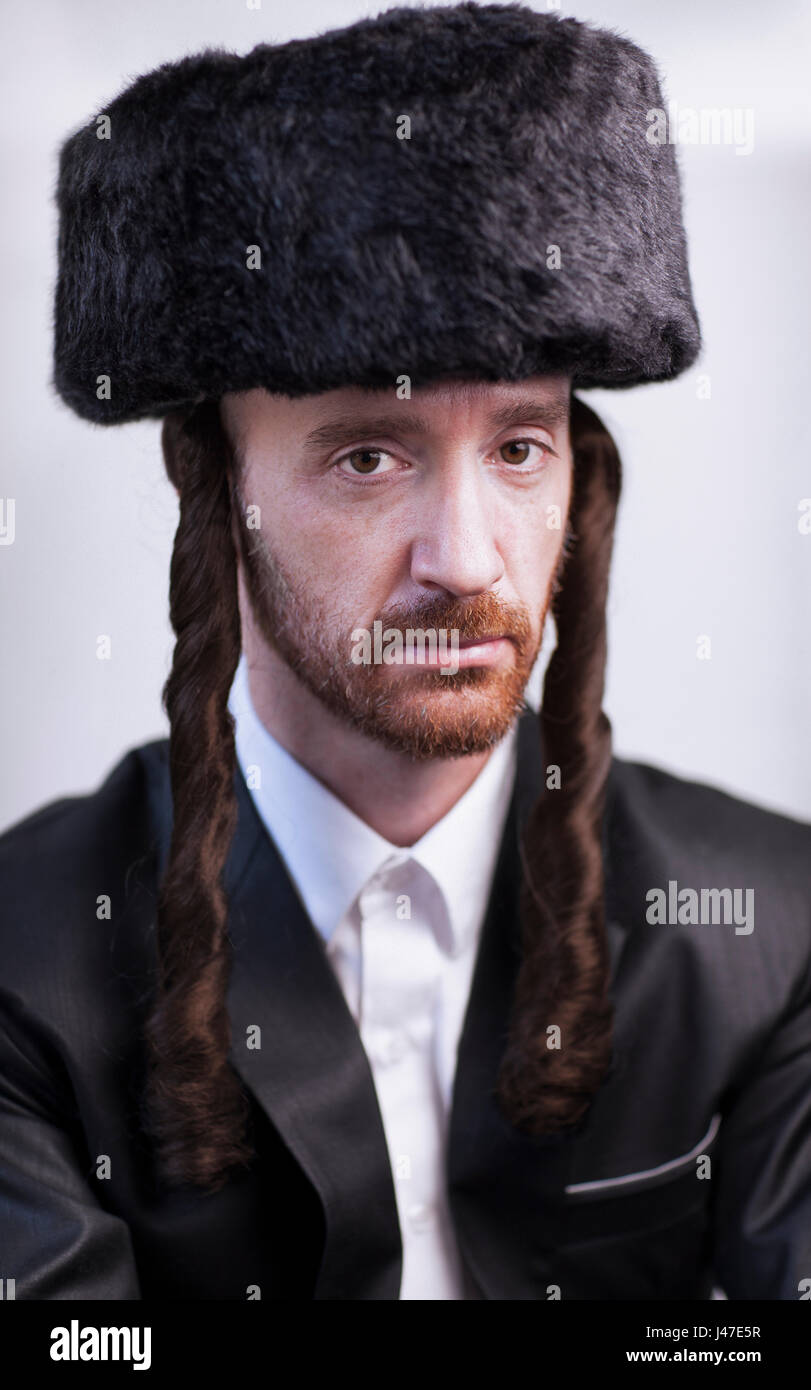Handsome Orthodox Jewish Man Hasidim Rabbi With Red Beard