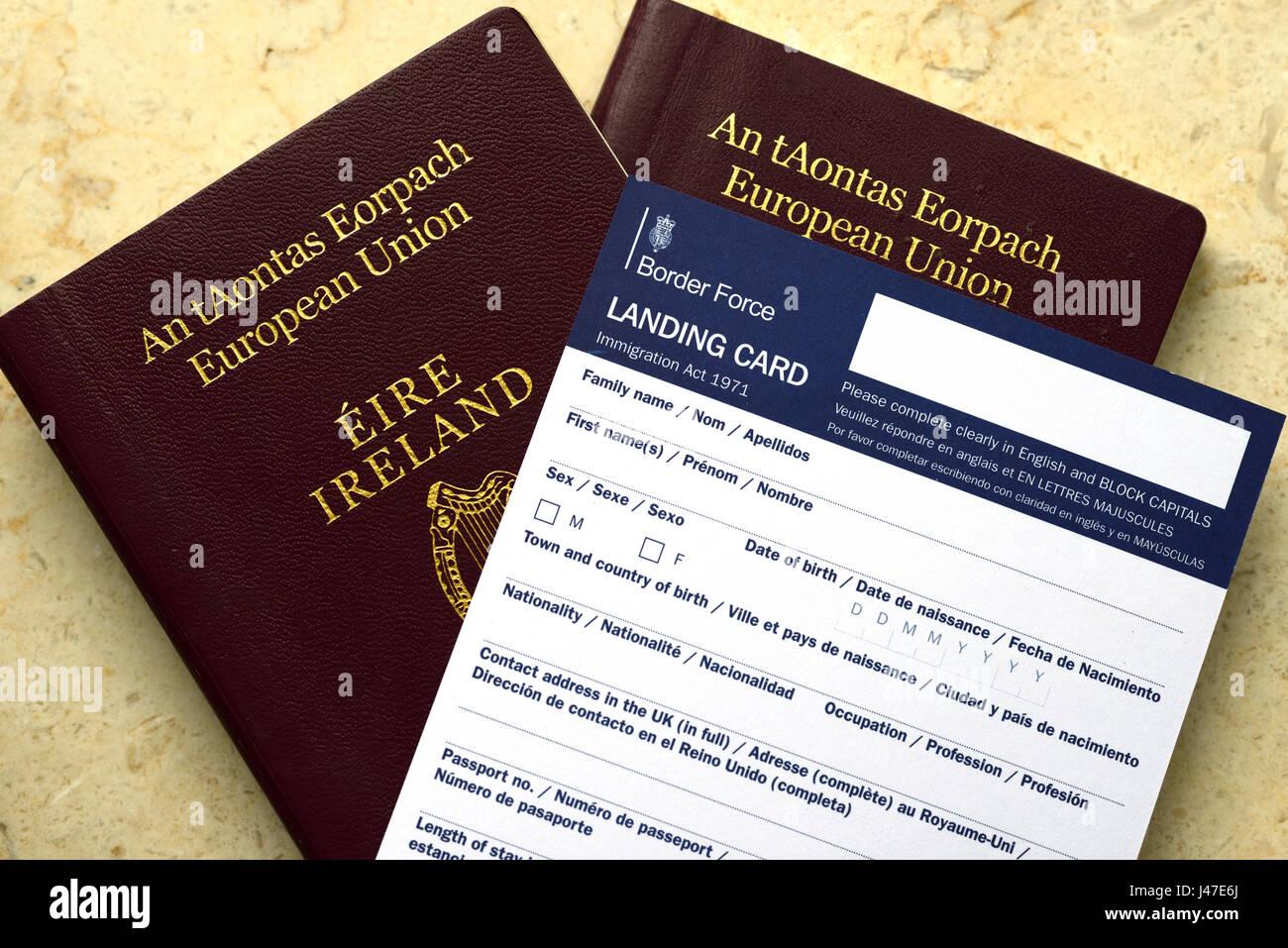 Brexit eu ireland irish passport uk united kingdom landing brexit eu ireland irish passport uk united kingdom landing card border force immigration migration hard border requirement control contr falaconquin