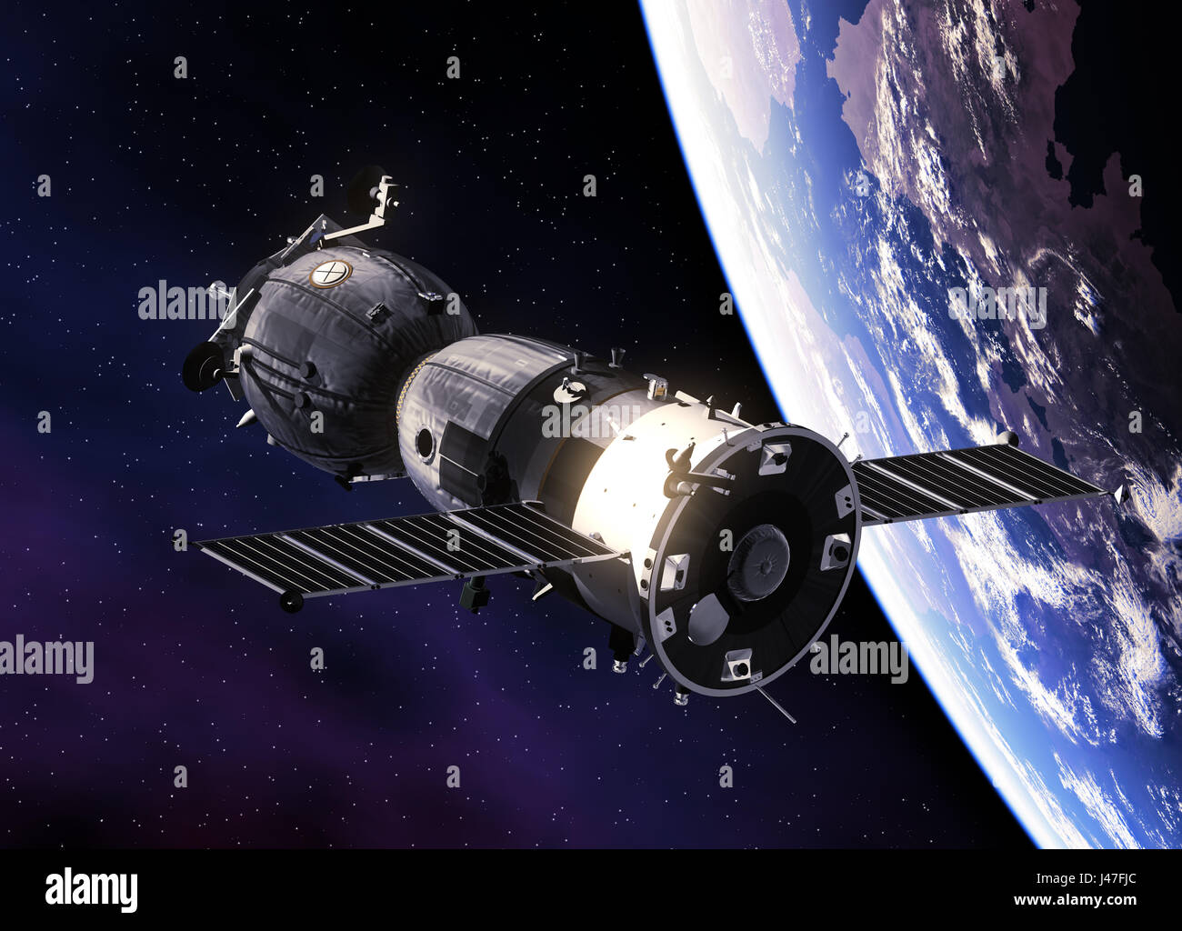 Russian Spacecraft Orbiting Earth - Stock Image