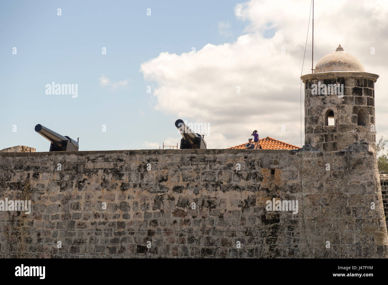 View of cannon in Castillo de San Salvador de La Punta, Havana, Cuba - Stock Image
