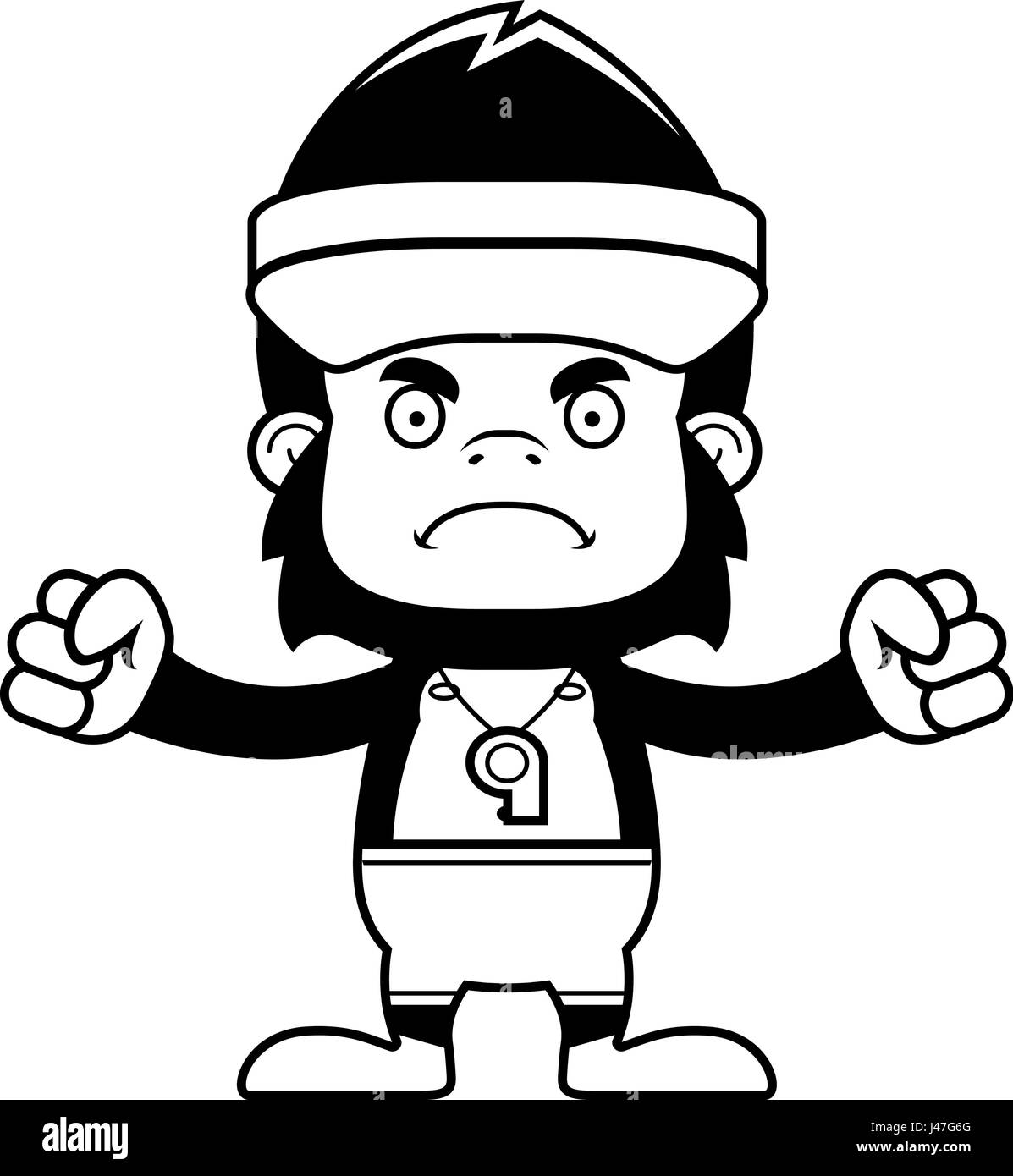 cartoon whistle black and white stock photos images page 3 alamy Angry Emoji Clip Art a cartoon lifeguard gorilla looking angry stock image