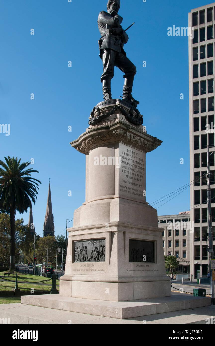 Memorial to General Charles Gordon, hero of Khartoum, on the Gordon Reserve at Spring & Macarthur Streets, Melbourne, - Stock Image