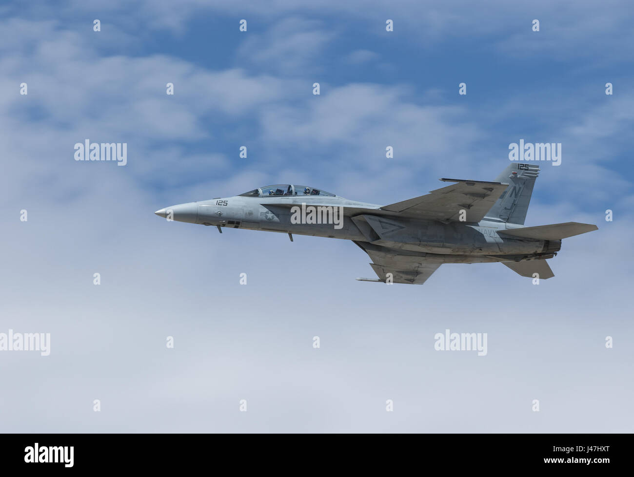 F/A-18C from NAS Lemoore performs at the L.A. County Air Show in Lancaster, CA at William J. Fox Airfield in March - Stock Image