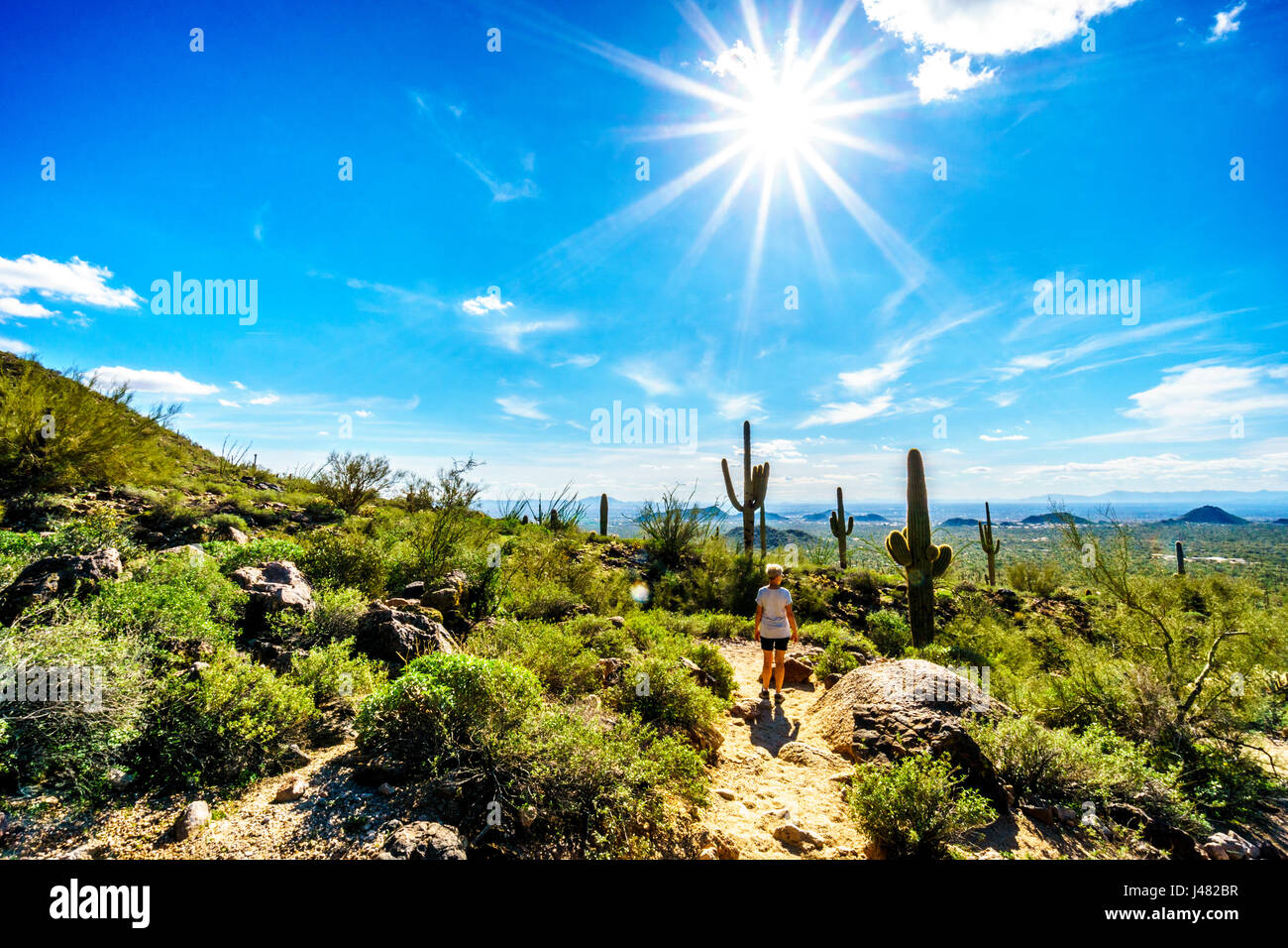 Woman on a hike on the trail to the Wind Cave in Usery Mountain under a bright sun and the city of Phoenix in the - Stock Image