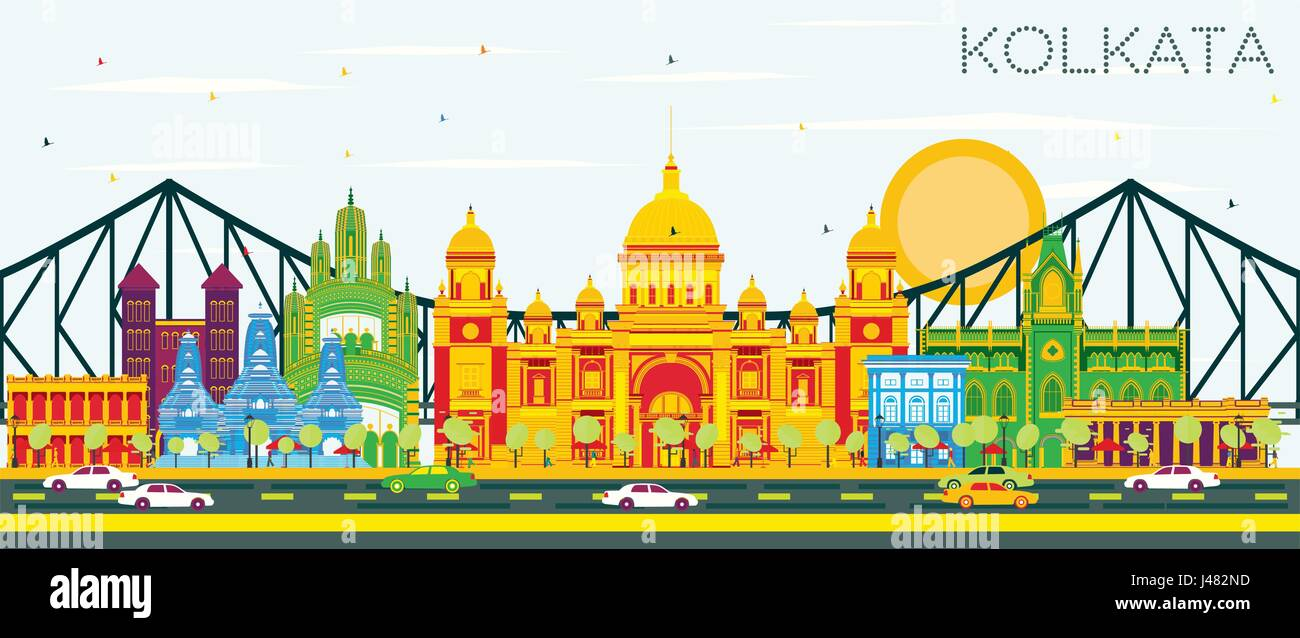 Kolkata Skyline with Color Landmarks and Blue Sky. Vector Illustration. Business Travel and Tourism Concept with - Stock Vector