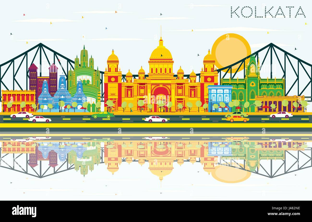 Kolkata Skyline with Color Landmarks, Blue Sky and Reflections. Vector Illustration. Business Travel and Tourism - Stock Vector