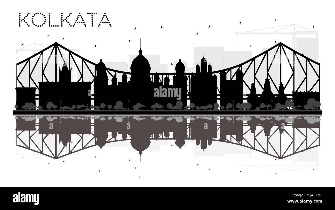 Kolkata City skyline black and white silhouette with reflections. Vector illustration. Simple flat concept for tourism - Stock Vector