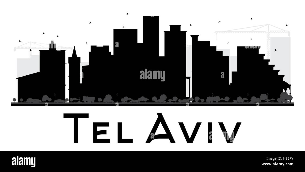 Tel Aviv City skyline black and white silhouette. Vector illustration. Simple flat concept for tourism presentation, - Stock Image
